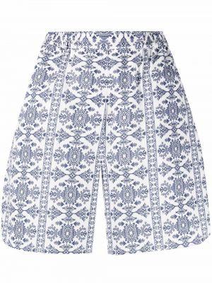 Białe szorty bawełniane z printem Evi Grintela