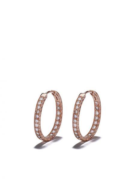 Золотистые желтые серьги-кольца с бриллиантом Loree Rodkin