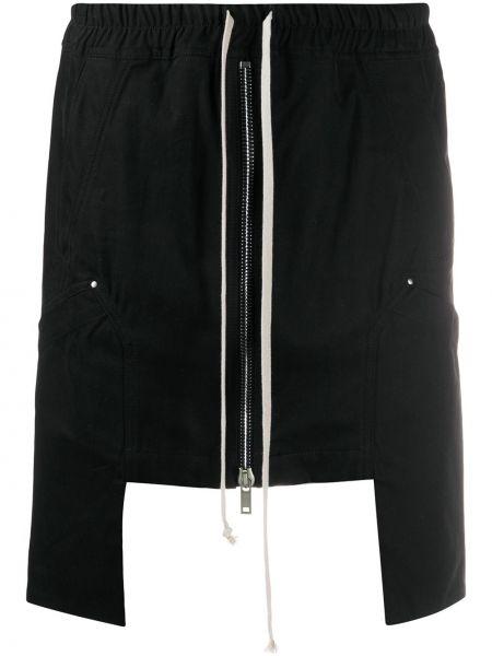 Хлопковая черная асимметричная юбка с поясом Rick Owens Drkshdw