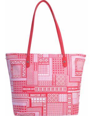Кожаная сумка - красная Love Moschino
