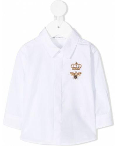 Хлопковая белая классическая рубашка с воротником Dolce & Gabbana Kids
