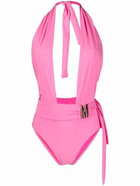 Розовый купальник из эластана Moschino