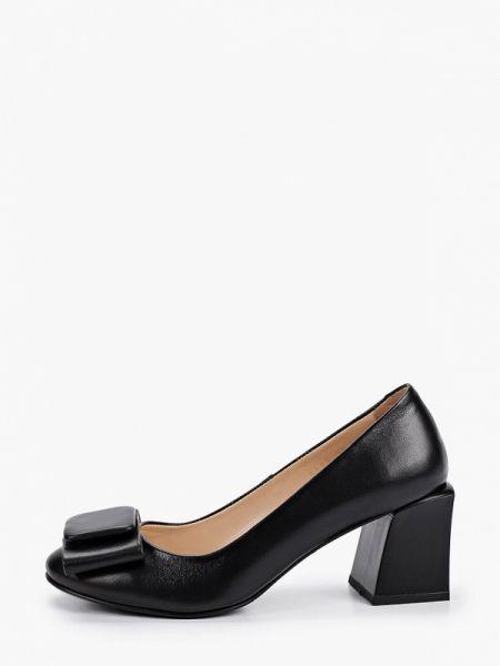 Черные кожаные туфли закрытые из натуральной кожи Hestrend