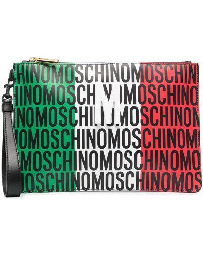 Czarna kopertówka skórzana z printem Moschino
