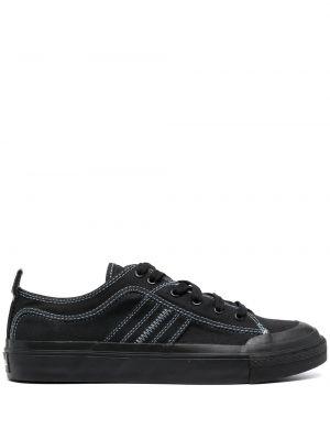 Хлопковые черные кеды на шнуровке Diesel