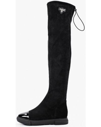 Лаковые черные кожаные ботфорты Ridlstep