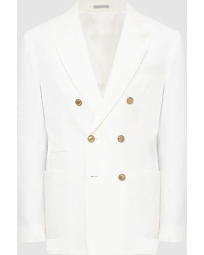 Льняной бежевый пиджак Brunello Cucinelli