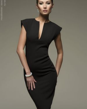 Вечернее платье миди - черное 1001 Dress