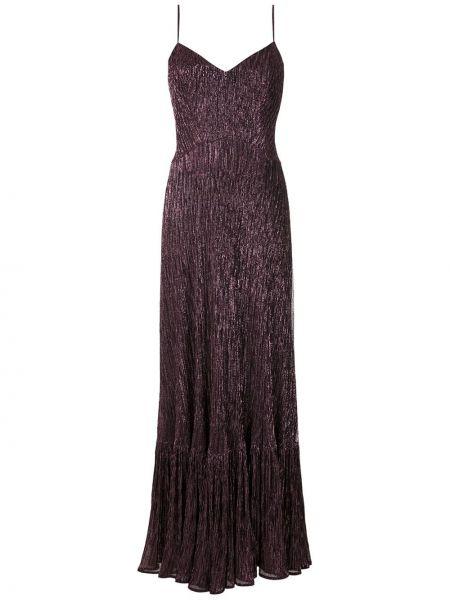 Фиолетовое платье макси с оборками без рукавов с вырезом Reinaldo Lourenço