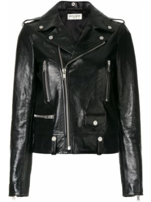 Кожаная куртка черная байкерская Saint Laurent