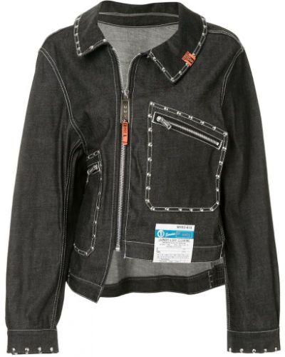 Черная джинсовая куртка на молнии Maison Mihara Yasuhiro