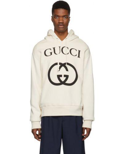Z rękawami czarny frotte bluza z kapturem z kapturem Gucci