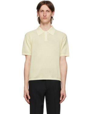 Хлопковое белое поло с длинными рукавами с воротником Second/layer