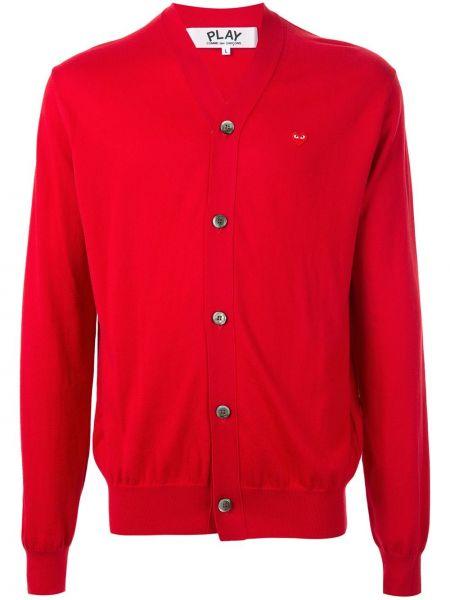 Красный хлопковый кардиган с вышивкой на пуговицах Comme Des GarÇons Play