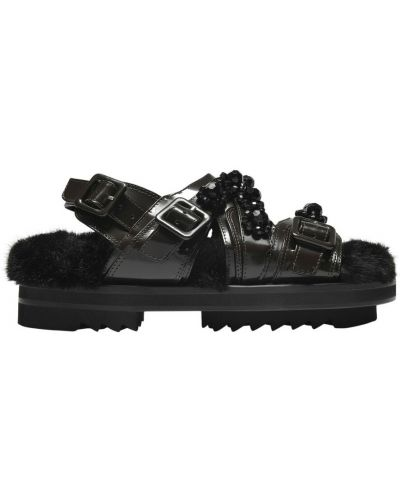 Czarne sandały skórzane Simone Rocha