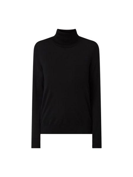Wełniany czarny sweter z kołnierzem Hugo