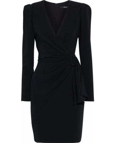 Черное платье с драпировкой на крючках Badgley Mischka