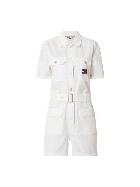 Biały kombinezon jeansowy bawełniany krótki rękaw Tommy Jeans