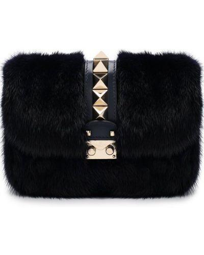 Кожаный сумка с мехом вечерняя Valentino