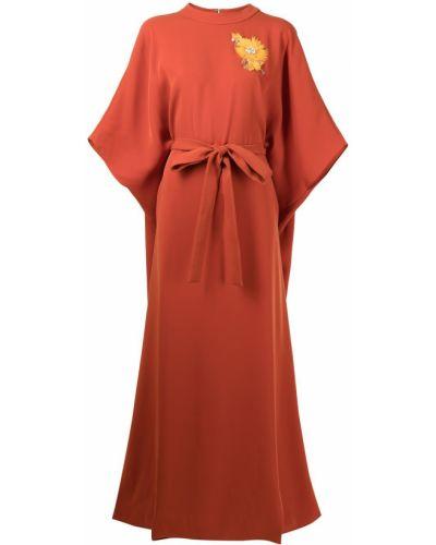 Оранжевое вечернее платье с воротником с вырезом Carolina Herrera