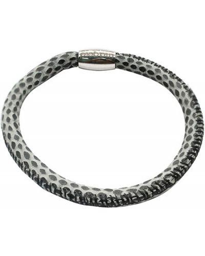 Кожаный браслет серебряный Liza Geld