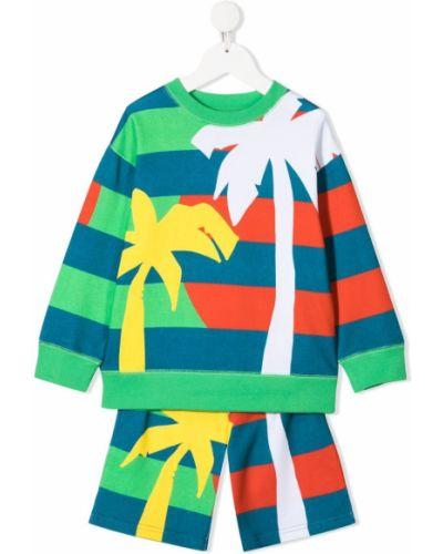 Zielony dres bawełniany krótki rękaw Stella Mccartney Kids
