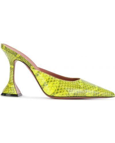 Желтые кожаные мюли на каблуке Amina Muaddi