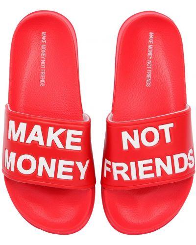 Красные шлепанцы Make Money Not Friends