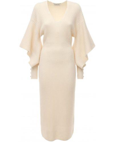 Шерстяное платье миди - белое Lanvin