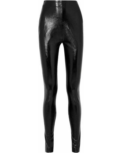 Зауженные кожаные черные брюки Stand Studio
