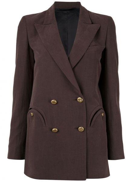Коричневая куртка с подкладкой двубортная узкого кроя Blazé Milano