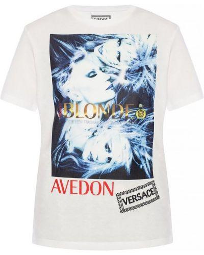 Biały t-shirt bawełniany z printem Versace