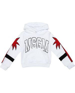 Bluza z kapturem biały z łatami Msgm Kids