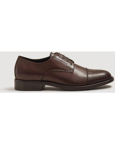 Кожаные туфли на шнуровке текстильные Mango Man