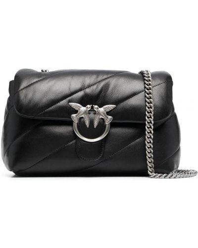 Стеганая черная кожаная сумка на плечо Pinko