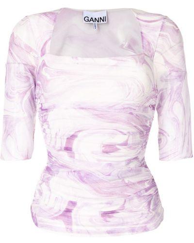 Fioletowa bluzka z siateczką Ganni
