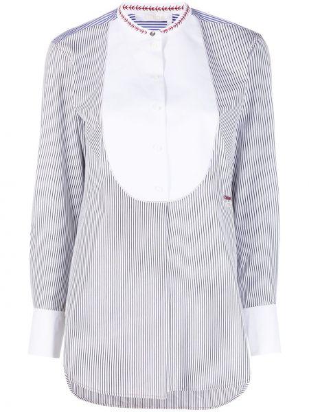Синяя рубашка с воротником-стойка с вышивкой Chloé