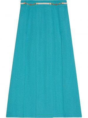 Złota spódnica plisowana - niebieska Gucci