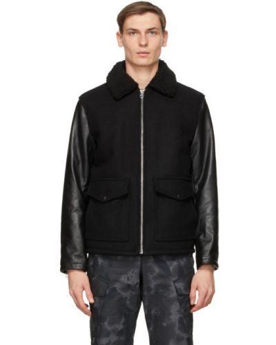 Ciepła czarna długa kurtka skórzana Rag & Bone
