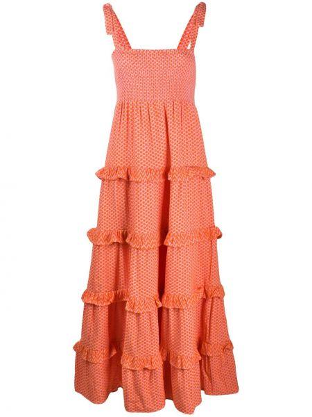 Оранжевое платье макси без рукавов с вырезом квадратное Cecilie Copenhagen