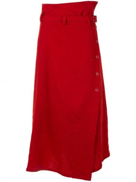 Красная шерстяная юбка миди с поясом на пуговицах Y`s