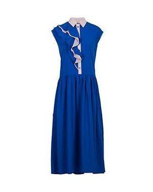 Хлопковое синее платье с капюшоном для офиса Via Torriani 88