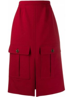 Шерстяная красная юбка миди в рубчик Chloé