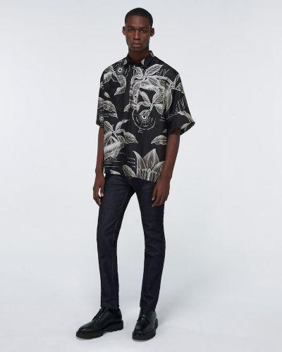 Jedwab czarny koszula zapinane na guziki z kieszeniami Givenchy