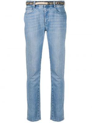 Прямые синие джинсы бойфренды с высокой посадкой Stella Mccartney