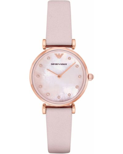 Różowy zegarek kwarcowy z paskiem skórzany Emporio Armani
