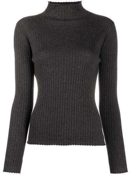 Серый кашемировый свитер с воротником в рубчик N.peal