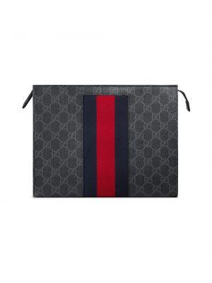 Otwarty bawełna czarny etui na klucze prążkowany Gucci