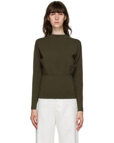 Зеленый шерстяной длинный свитер с воротником 3.1 Phillip Lim