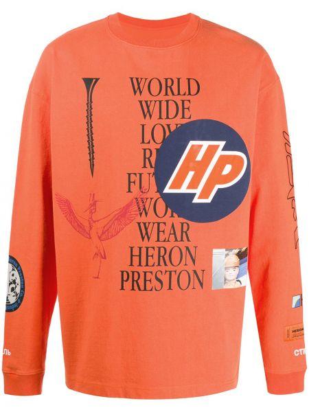 Długo pomarańczowy bluza na szyi z logo Heron Preston